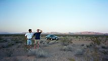 Bob - David - With Rental Car out - In Desert - Sunset