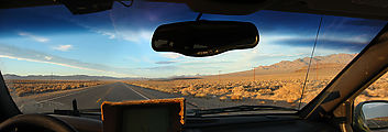 Nevada - Driving 95 - North - Inside Jeep - Panorama