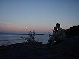 Kayaking Lummi Island - DNR Campsite - Sunset and Moonrise - Dinner - Geoff - Laura