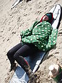 Oregon Surfing - Beach - Colleen - Napping