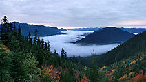 Keechelus Ridge - West of Kachess Lake - View Campsite - Low Clouds over Lake