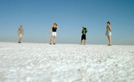 Driving North from San Felipe: Detour to see Salt Flats - Geoff, Robin, Leo, Tracey