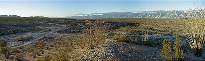 Camp Southeast of Lake Diablo - Morning - View from Hill (panorama) (12/30/2001)