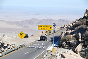 "La Rumorosa - Curvy Switchbacks - Sign, ""CURVA PELIGROSA A 100 m"""