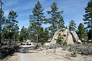 Baja - Road East of Laguna Hanson - Sportsmobile - Rock - Pine Trees - Sportsmobile