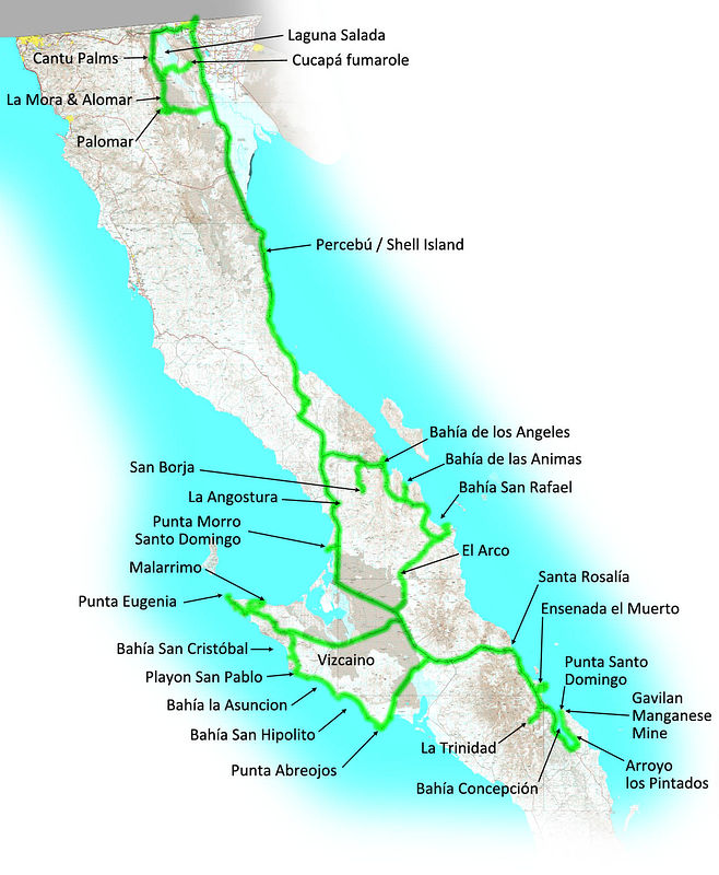 Baja 2019 Map with GPS Track