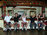 Rincón de la Vieja - Hotel Borinquen - Saddle Bar Stools - Ken Dottie Liz Geoff Laura (photo by Dottie) (Jan 1, 2005)