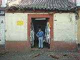 Xela (Quetzaltenango) - An old building damaged by a truck just seconds before Geoff walked past.
