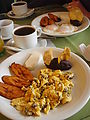 Huehue (Huehuetenango) - Breakfast - Plantains - Eggs - Beans - Cheese