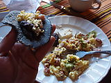 Chichi (Chichicastenango) - Market - Eating Breakfast - Eggs, Sausage, and Blue Corn Tortillas