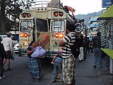 Back at Panajachel - Chicken Bus - Everything Gets Unloaded