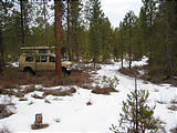 Camping in Oregon - Deschutes National Forest - Snow - Sportsmobile
