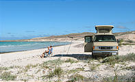 Sportsmobile: Camping on a secluded beach, Punta Las Pilitas, Baja California Mexico - Awning