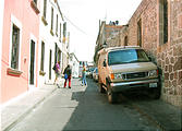 Sportsmobile: A bit big for parking on the narrow old streets of Morelia, Mexico