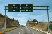 Tequila Sign - Toll Road - Passing Tequila on the way to Tepic
