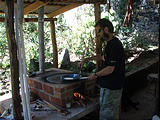 Rancho Madroño - Cooking on Wood Stove - Brian (photo by Lars)