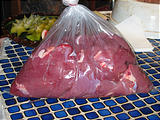 Rancho Madroño - Fresh Veal - Cooking - Bag of Meat (photo by Geoff)