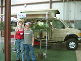 "Sportsmobile with ""Just Married"" sign — Picking up our new van at the Fresno Sportsmobile factory"