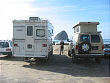 Cape Kawanda Lunch - Sportsmobile next to Pickup Truck Camper (October 21, 2004 1:38 PM)