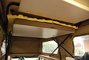 Sportsmobile: Upper Bed - Top Up - Front Section Hanging from Ceiling, with Eggcrate Foam