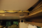 Sportsmobile: Upper Bed - Top Down - Front Section Hanging from Ceiling, with Eggcrate Foam
