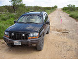 Texas - Mexican Border Road Along Rio Grande From Eagle Pass to Laredo - Big Hole in the Road - Jeep