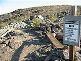 "Sign: ""Mining Claim - No Prospecting, Panning, Sluicing, Dredging, Sniping, Metal Detecting"" - Gold Crown Mine - North of Joshua Tree Park (May 29, 2006 5:56 PM)"
