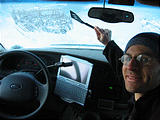 Camping - Cold morning in snow - Scraping ice off inside of windshield with spatula - Geoff - Sportsmobile (7:55 AM Oct 5, 2005)