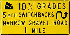 "Moki Dugway - Sign - ""10% Grades 5MPH Switchbacks Narrow Gravel Road 1 Mile"""