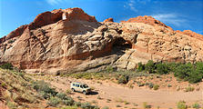 Capitol Reef National Park - Driving on Dry Wash to Strike Valley Overlook Trail - Sportsmobile (11:16 AM Oct 12, 2005)
