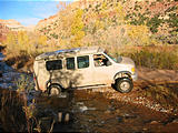 Capitol Reef National Park - Pleasant Creek Road - Crossing Stream - Sportsmobile (5:42 PM Oct 12, 2005)