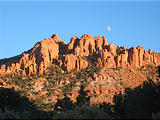 Capitol Reef National Park - Pleasant Creek Road - Rocks and Moon (6:11 PM Oct 12, 2005)