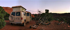 Capitol Reef National Park - Pleasant Creek Road - Camping Just Outside Park - Sportsmobile (7:04 PM Oct 12, 2005)